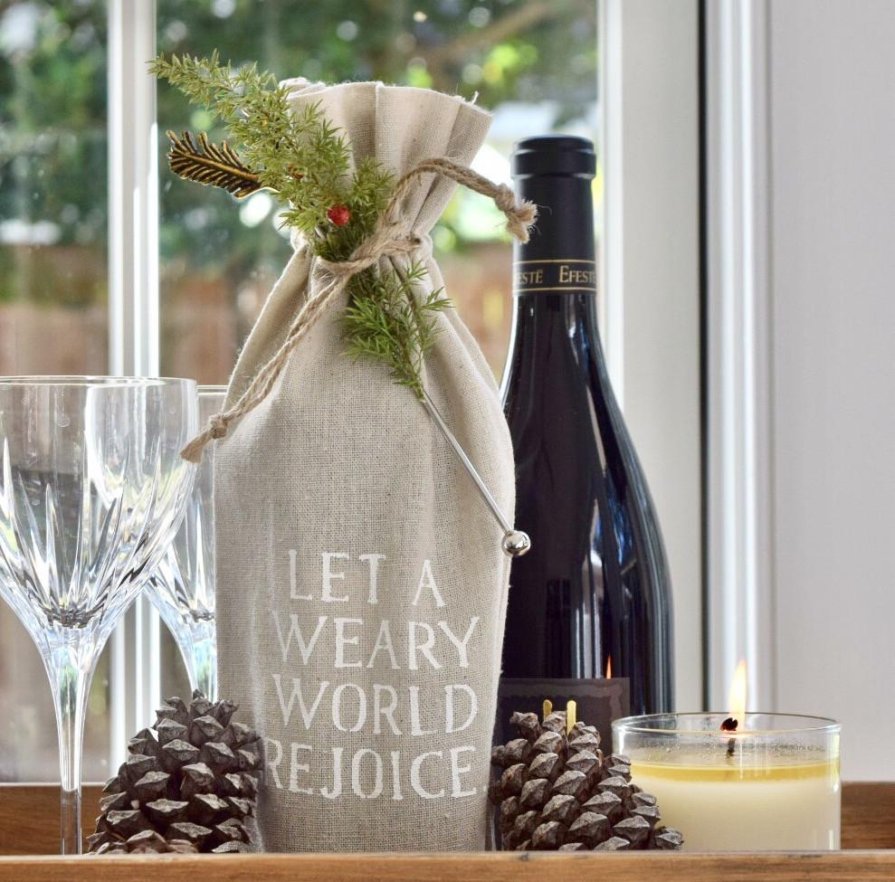 "set of 2 wine bags- ""Let a weary world rejoice"""