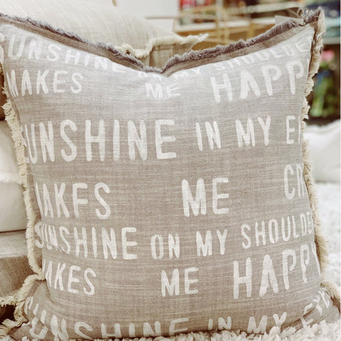 """Sunshine on my shoulders..."" Large Pillow"