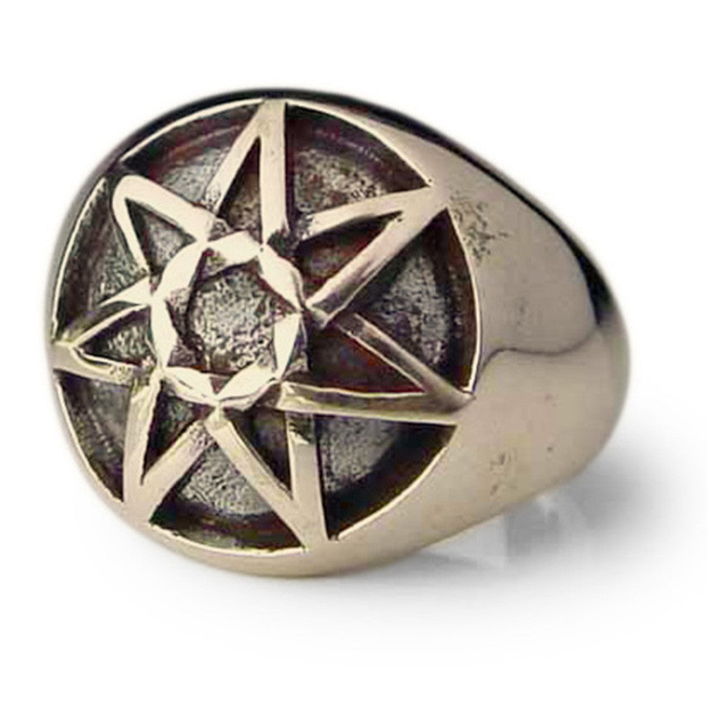 Bronze Celtic Heptagram Ring 7 Point Star Heptagon Dome