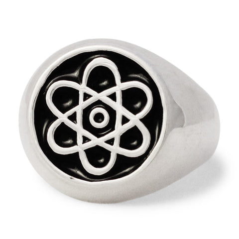 Atomic Symbol Ring in Sterling Silver 925 Atom Cloud