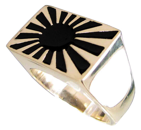 Bronze Rising Sun Ring Far East Japanese Flag Symbol with Black Enamel - Size 16