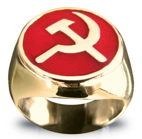 Bronze Hammer and Sickle CCCP Communist USSR Ring in Red -