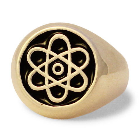 Atomic Symbol Ring in Bronze Atom Cloud