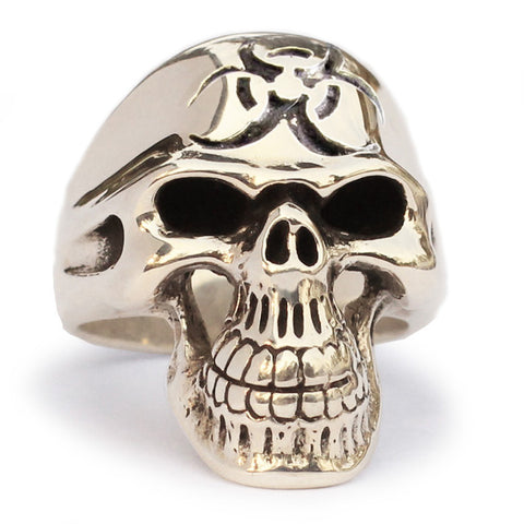 Bio-Hazard Aftermath Skull Ring Toxic Waste Symbol in Bronze
