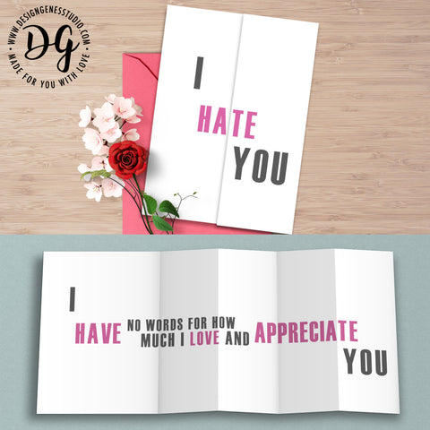 Funny anniversary card, funny love card, I hate you, funny card for him, hidden message card, sarcastic card, foldout card, Funny love card