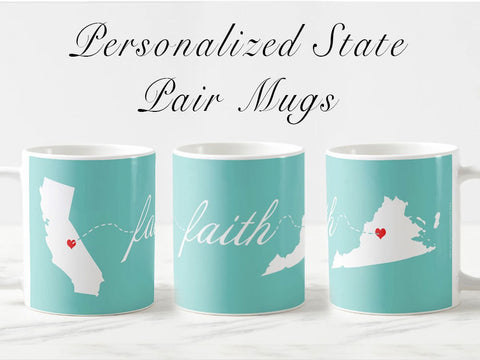 Valentine's day gift for her, Personalized long distance gift, personalized mugs for him, going away, long distance gift, anniversary gift