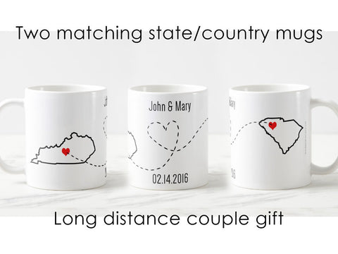 Long distance relationship mugs, Valentine's day gift for her, personalized mugs for him, going away gift, moving away, long distance gift
