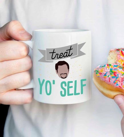 Tom Haverford Quote: Treat Yo Self mug, Parks and Rec quote mug, Aziz Ansari quote, parks and rec fan gift