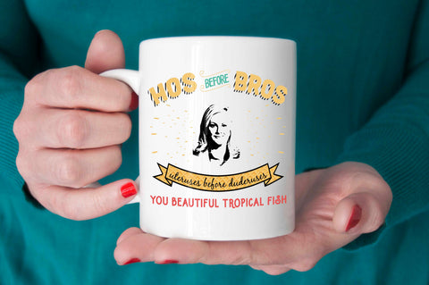 Parks and Rec Quote: Leslie Knope hos before bros mug, ueteruses before duderuses, parks and rec quote mug, parks and rec fan gift