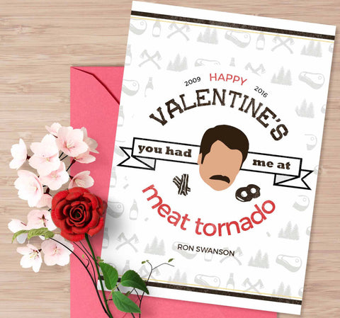 "Parks and Recreation Valentine's day card, ""You had me at meat tornado"", Ron Swanson card, Parks and rec quote, Bacon and eggs, card for him"
