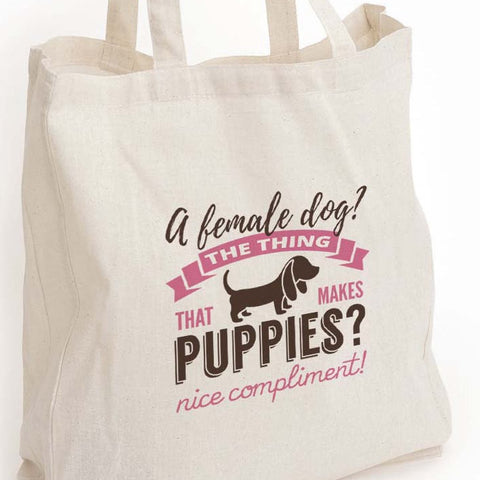 "Dog lover gift, Kimmy Schmidt quote eco tote bag, ""the thing that makes puppies"", Kimmy schmidt fan gift, dog owner gift, funny tote bag"