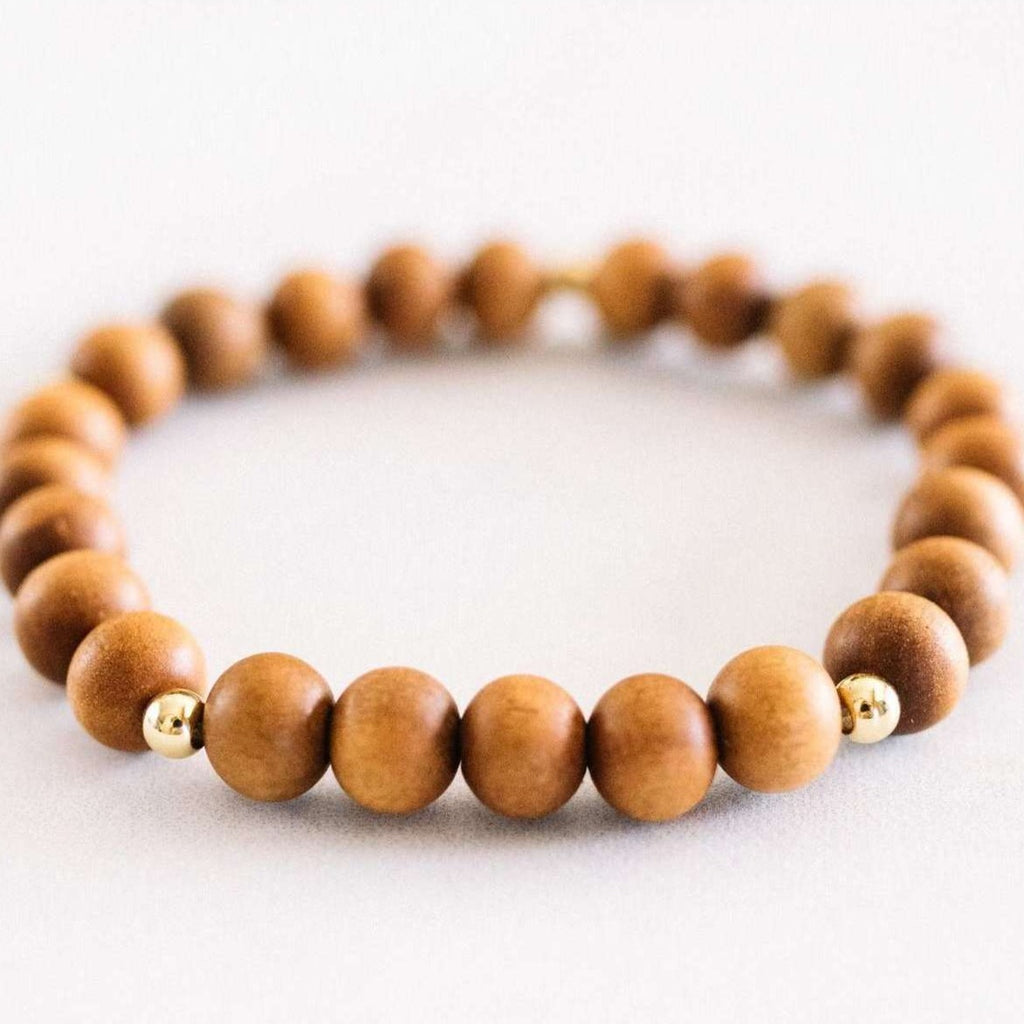 Sandalwood Bracelet - Mala & Me- Gemstones with beautiful geometric pendents inspired by nature- Jewlery used for meditation, setting intentions and enhancing your yoga practice. Each gemstone holds unique healing properties