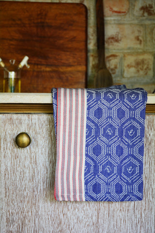 Blue Printed Kitchen Towel with Red Striped Border