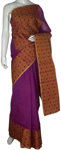 Purple Banarasi Silk Saree With Zari Border