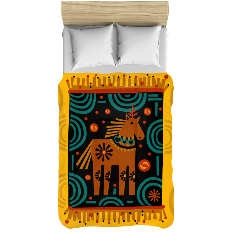 Comforter with a Whimsical Horse Design for Your Kids Children's Bedroom