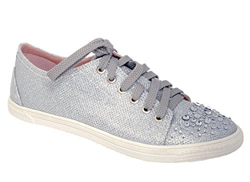 Glitter Rhinestone Fashion Sneakers in Silver