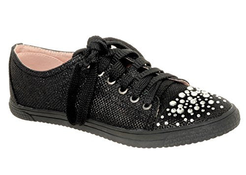 Glitter Rhinestone Fashion Sneakers in Black