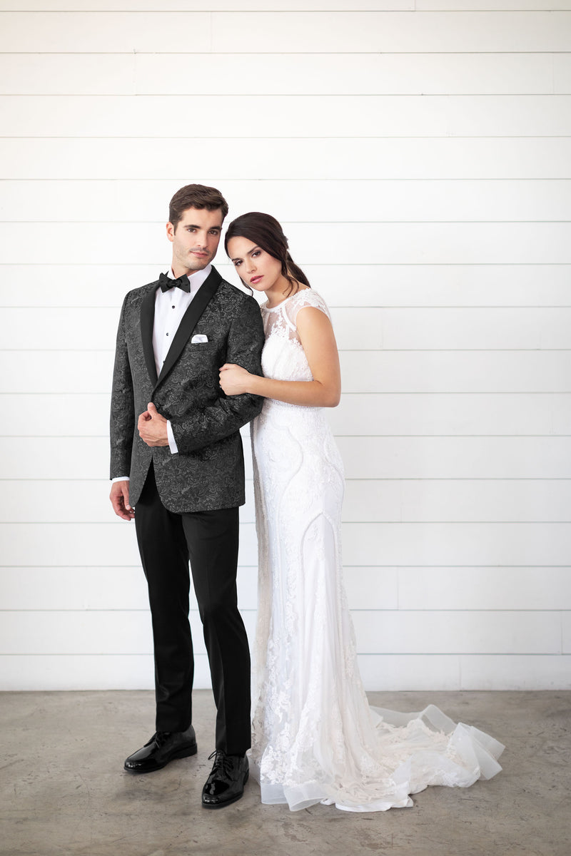Tuxedo Rental in Grey for Wedding, Prom or Formal Occassion - Granite Aries Paisley Slim Fit Tux