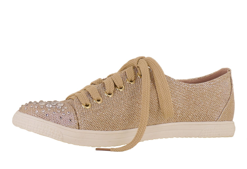 Glitter Rhinestone Fashion Sneakers in Nude Natural Khaki