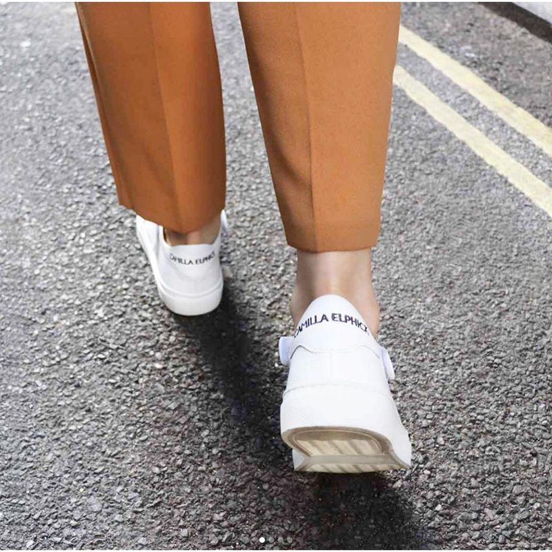 Heart & Sole White Calf Leather Sneakers
