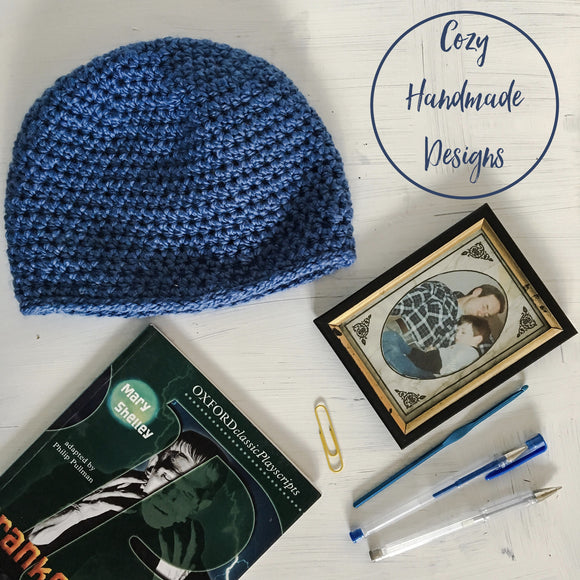 Blue men's Beanie Hat medium size