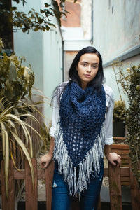 Oversized cowl in navy and cream