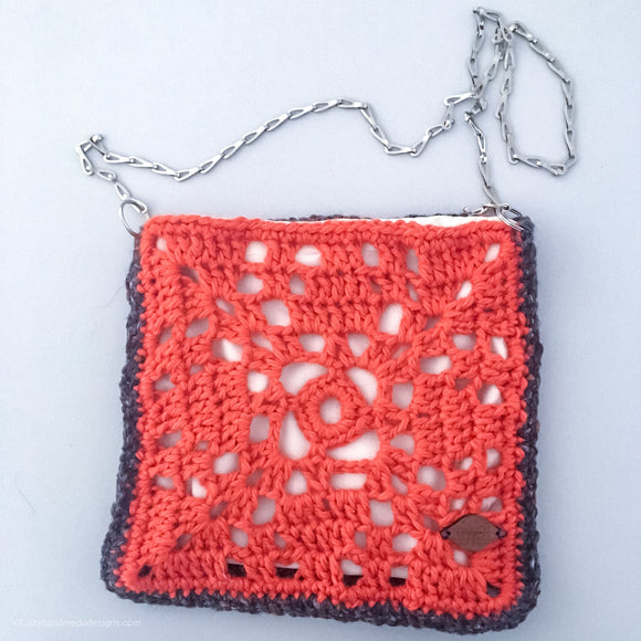 Square orange and grey bag