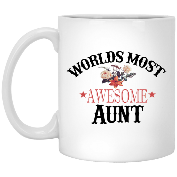Aunt Birthday Gift Worlds Most Awesome Aunt 11 oz Coffee Mug Christmas Gift