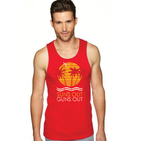 suns out guns out tank top grey