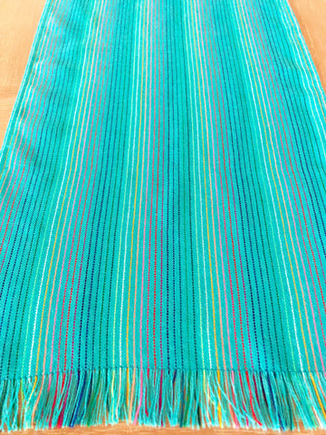 Mexican Fabric Table Runner -turquoise rainbow