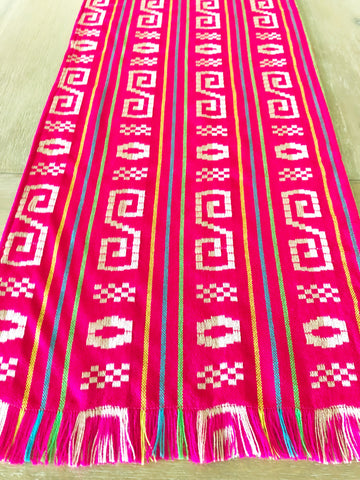 Mexican Fabric Table Runner or Tablecloth -Bright pink and tan