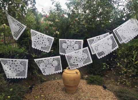Mexican Papel Picado banner - All White bunting - MesaChic - 1