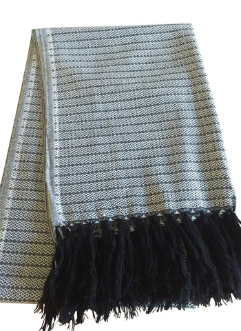 Mexican Rebozo Handwoven black and white with Fringes - MesaChic - 1