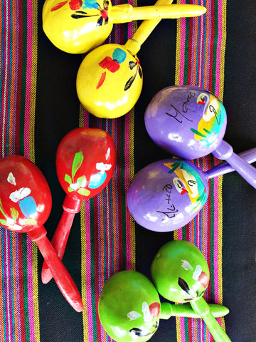 Pair of authentic Mexican Maracas colorful - MesaChic
