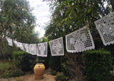 Mexican Papel Picado banner - All White bunting - MesaChic - 2