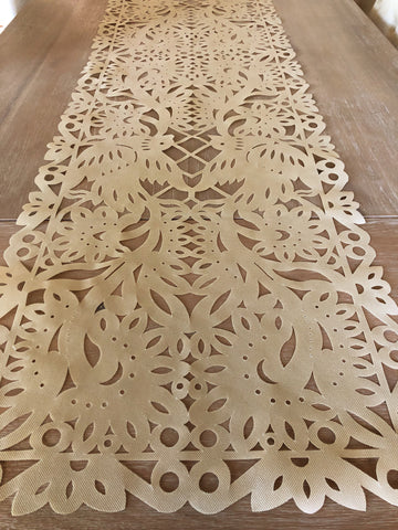 Mexican fabric Table Runner Papel Picado design TAN