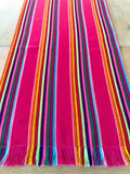 Mexican fabric Table Runner- wide Pink stripes