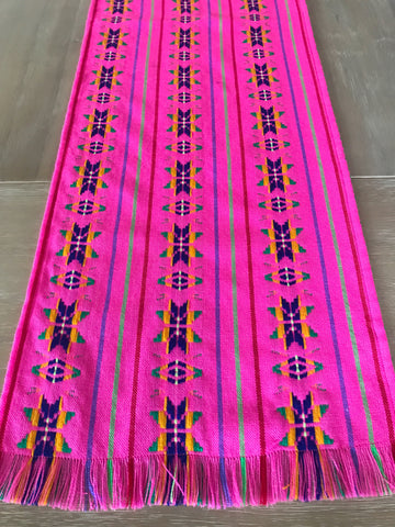 Mexican Fabric Table Runner - Pink star
