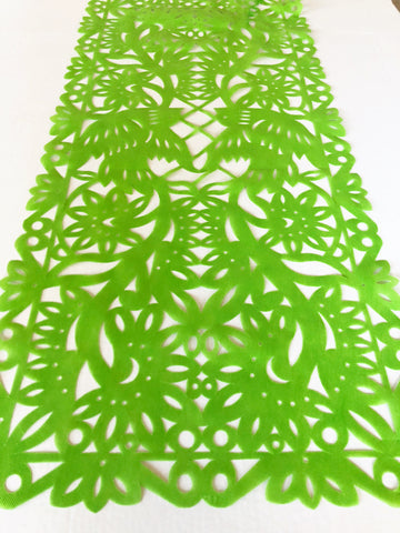 Mexican fabric Table Runner Papel Picado design Lime Green