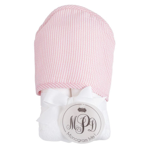 Pink Seersucker Hooded Towel