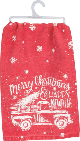 Merry Christmas And Happy New Year Dish Towel
