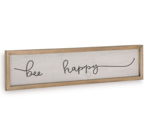 Bee Happy Wood Sign