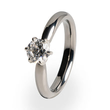 Titanium Ring with White Gold 6 Prong Setting