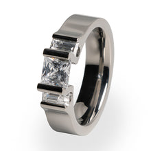 Titanium ring with princess cut gemstones