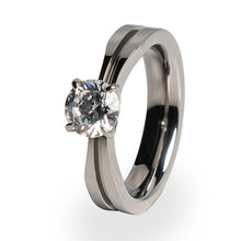 Titanium ring solitaire with gemstone for women