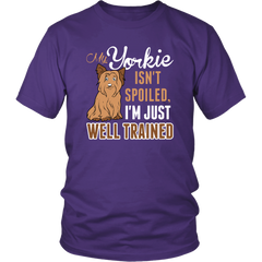 My Yorkie isn't spoiled, I'm just a well trained owner!