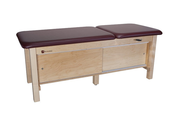 Armedica AM-618 Maple Hardwood Treatment Table with Full Cabinet and Adj. Backrest - Core Medical Equipment