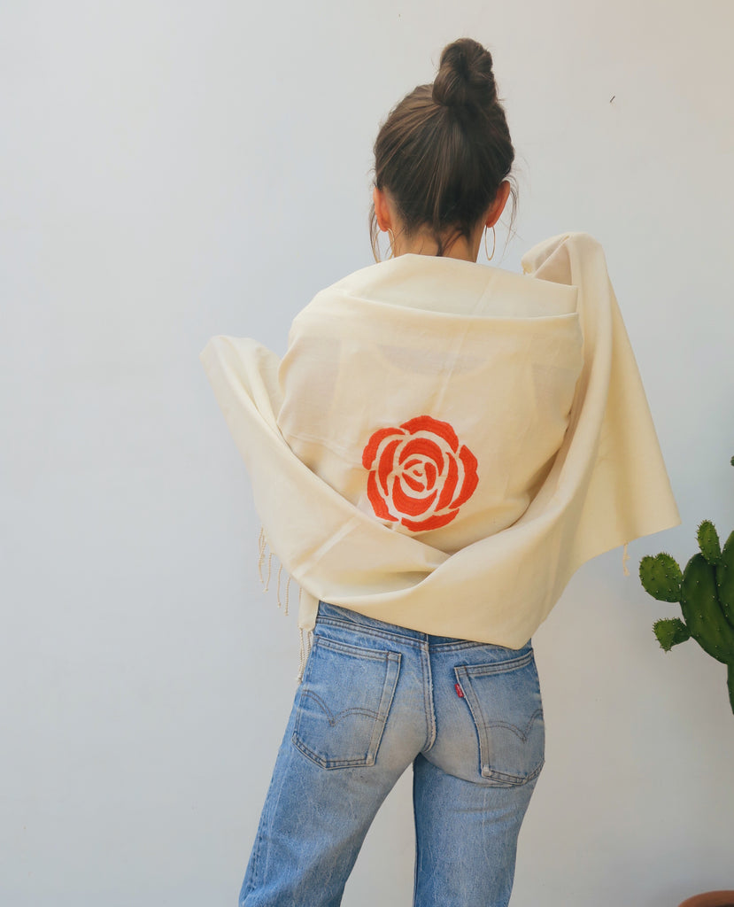 handwoven wrap scarf with rose embroidery