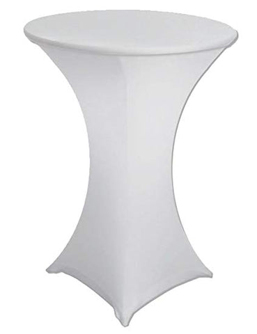 "WHITE SPANDEX COCKTAIL COVERS 32""RND X 43""T"