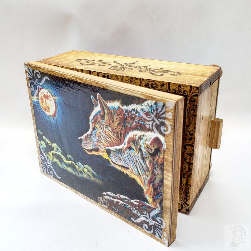 Vintage Midnight Wolf Jewelry Box with Mirror